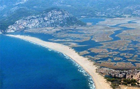 Iztuzu Beach is Backed by The Dalyan Delta