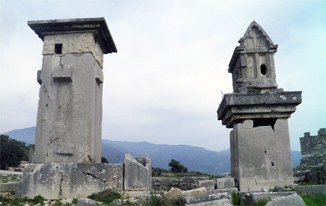 Lycian monumental tombs, the Harpy tomb and the pillared sarcophagus Xanthos